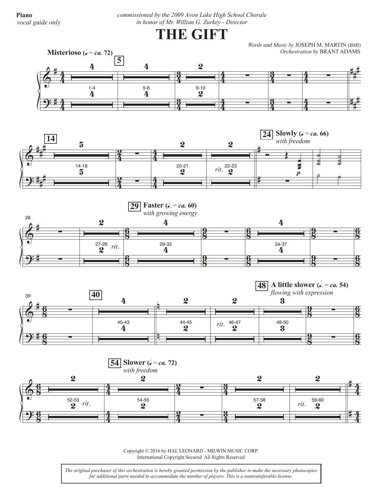 Joseph M. Martin The Gift - Piano sheet music notes and chords. Download Printable PDF.