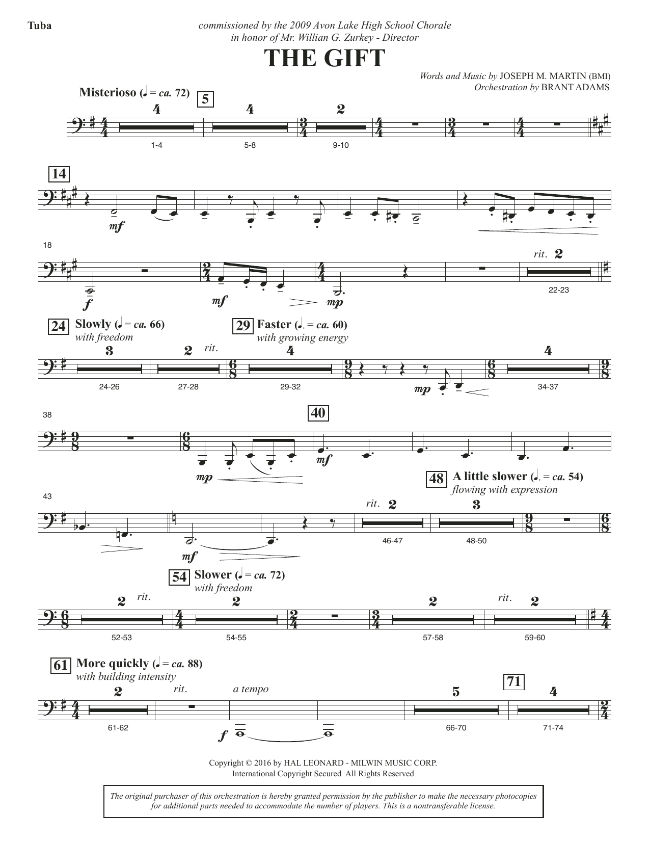 Joseph M. Martin The Gift - Tuba sheet music notes and chords. Download Printable PDF.