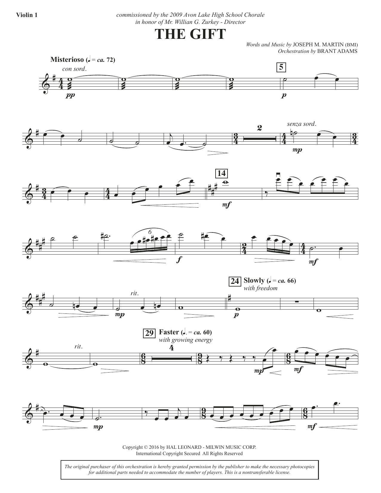 Joseph M. Martin The Gift - Violin 1 sheet music notes and chords. Download Printable PDF.