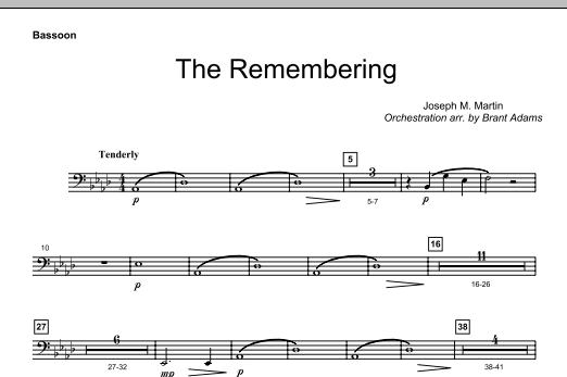Joseph M. Martin The Remembering - Bassoon sheet music notes and chords. Download Printable PDF.