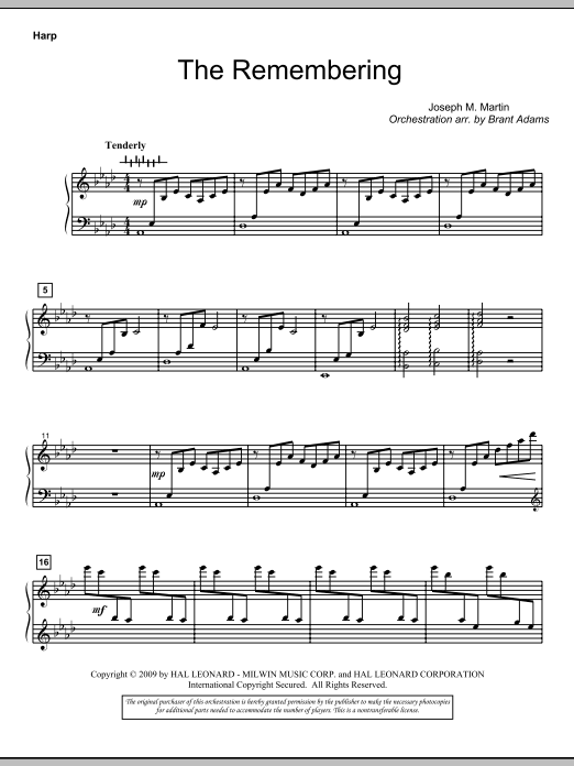 Joseph M. Martin The Remembering - Harp sheet music notes and chords. Download Printable PDF.
