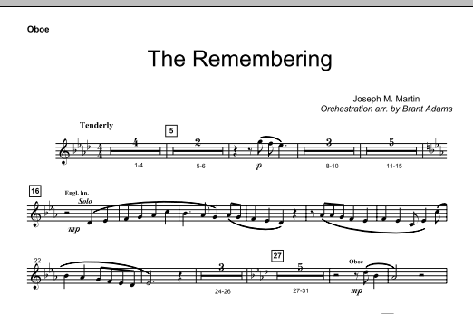 Joseph M. Martin The Remembering - Oboe sheet music notes and chords. Download Printable PDF.