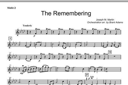 Joseph M. Martin The Remembering - Violin 2 sheet music notes and chords. Download Printable PDF.