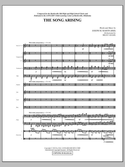 Joseph M. Martin The Song Arising - Score sheet music notes and chords. Download Printable PDF.