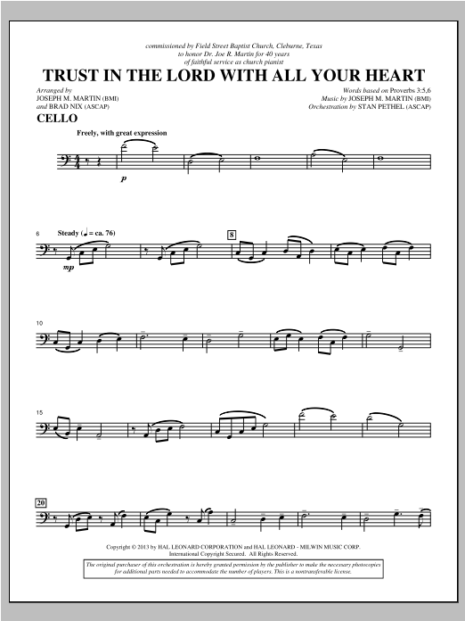 Joseph M. Martin Trust In The Lord With All Your Heart - Cello sheet music notes and chords. Download Printable PDF.