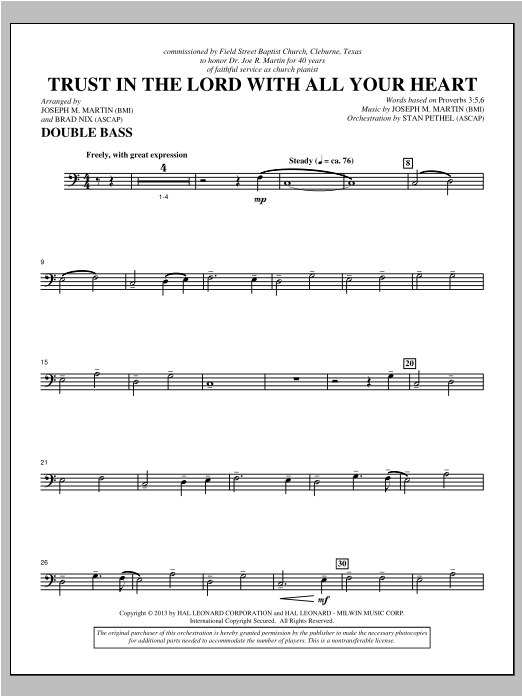 Joseph M. Martin Trust In The Lord With All Your Heart - Double Bass sheet music notes and chords. Download Printable PDF.