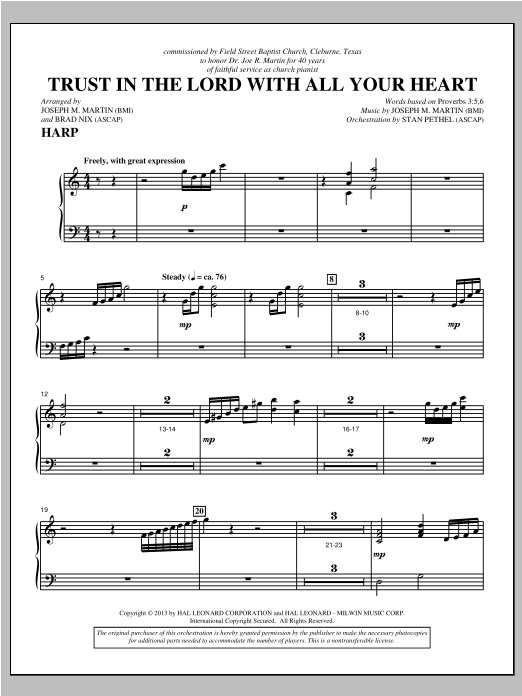 Joseph M. Martin Trust In The Lord With All Your Heart - Harp sheet music notes and chords. Download Printable PDF.