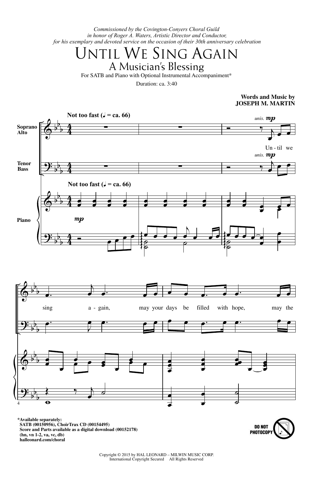 Joseph M. Martin Until We Sing Again (A Musician's Blessing) sheet music notes and chords