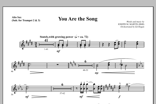 Joseph M. Martin You Are the Song - Alto Sax (sub. Trumpet 2-3) sheet music notes and chords. Download Printable PDF.