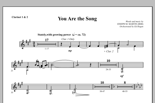 Joseph M. Martin You Are the Song - Bb Clarinet 1 & 2 sheet music notes and chords. Download Printable PDF.