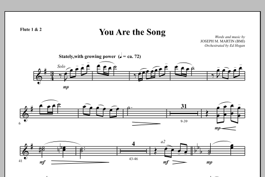 Joseph M. Martin You Are the Song - Flute 1 & 2 sheet music notes and chords. Download Printable PDF.