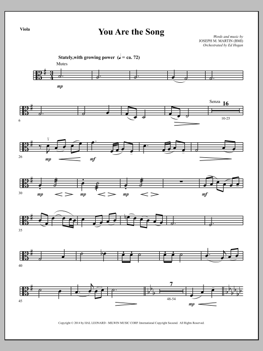 Joseph M. Martin You Are the Song - Viola sheet music notes and chords. Download Printable PDF.