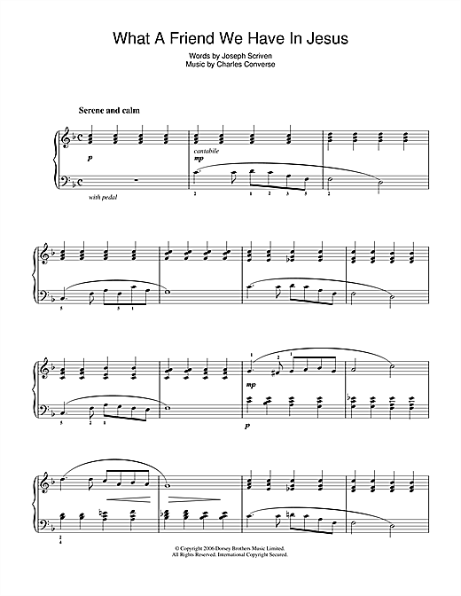 Joseph M. Scriven What A Friend We Have In Jesus sheet music notes and chords