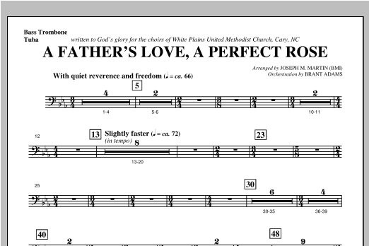 Joseph Martin A Father's Love, A Perfect Rose (from Festival Of Carols) - Bass Trombone/Tuba sheet music notes and chords. Download Printable PDF.