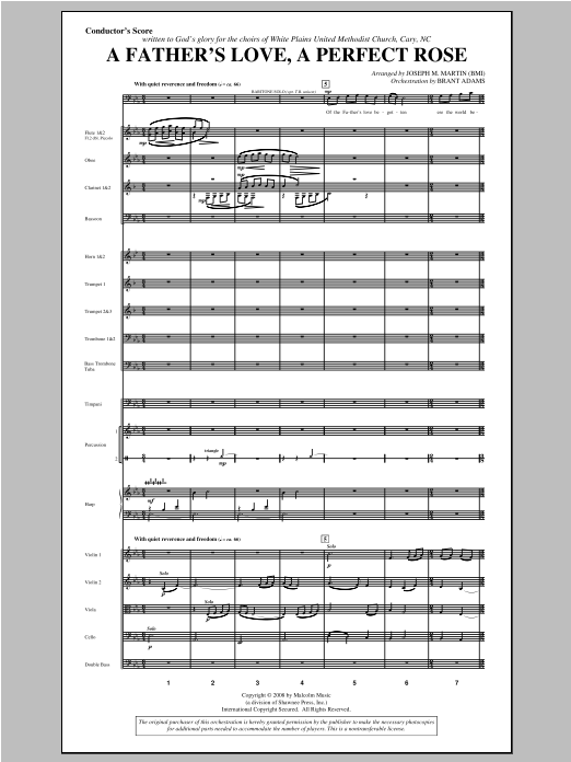 Joseph Martin A Father's Love, A Perfect Rose (from Festival Of Carols) - Score sheet music notes and chords. Download Printable PDF.
