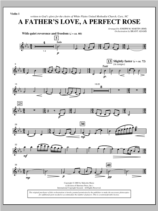 Joseph Martin A Father's Love, A Perfect Rose (from Festival Of Carols) - Violin 1 sheet music notes and chords. Download Printable PDF.