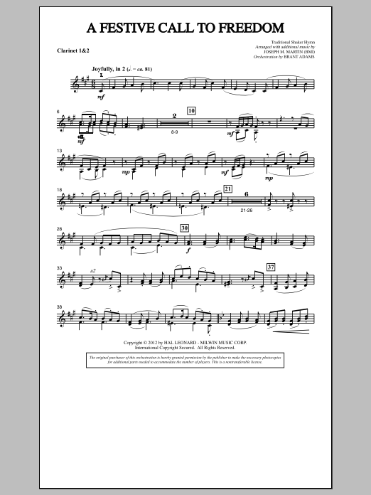Joseph Martin A Festive Call to Freedom - 1st & 2nd Bb Clarinet sheet music notes and chords. Download Printable PDF.