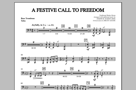 Joseph Martin A Festive Call to Freedom - Bass Trombone/Tuba sheet music notes and chords. Download Printable PDF.