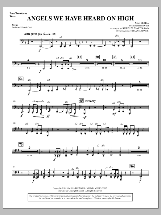 Joseph Martin Angels We Have Heard On High (from A Symphony Of Carols) - Bass Trombone/Tuba sheet music notes and chords. Download Printable PDF.