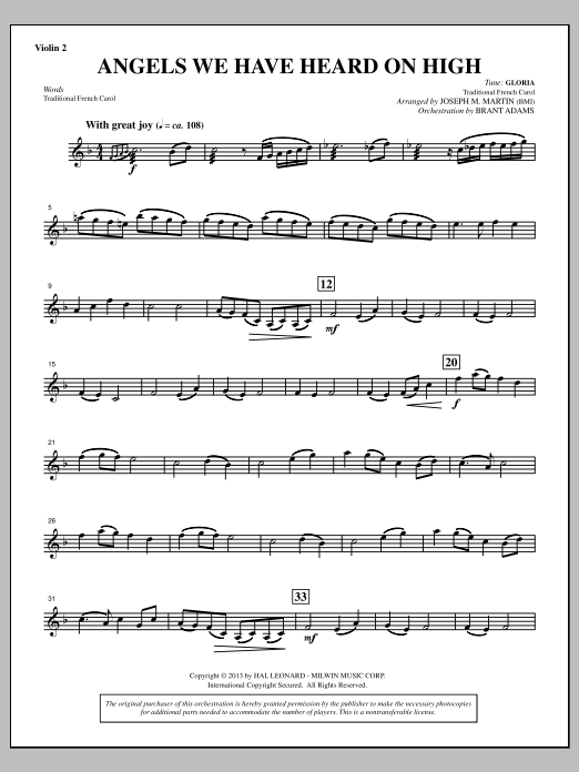 Joseph Martin Angels We Have Heard On High (from A Symphony Of Carols) - Violin 2 sheet music notes and chords. Download Printable PDF.