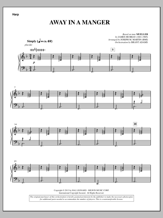 Joseph Martin Away In A Manger (from A Symphony Of Carols) - Harp sheet music notes and chords. Download Printable PDF.