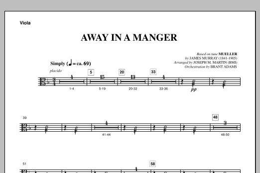 Joseph Martin Away In A Manger (from A Symphony Of Carols) - Viola sheet music notes and chords. Download Printable PDF.