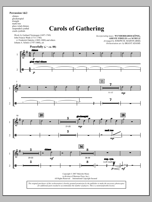 Joseph Martin Carols Of Gathering (from Season Of Wonders) - Percussion 1 & 2 sheet music notes and chords. Download Printable PDF.