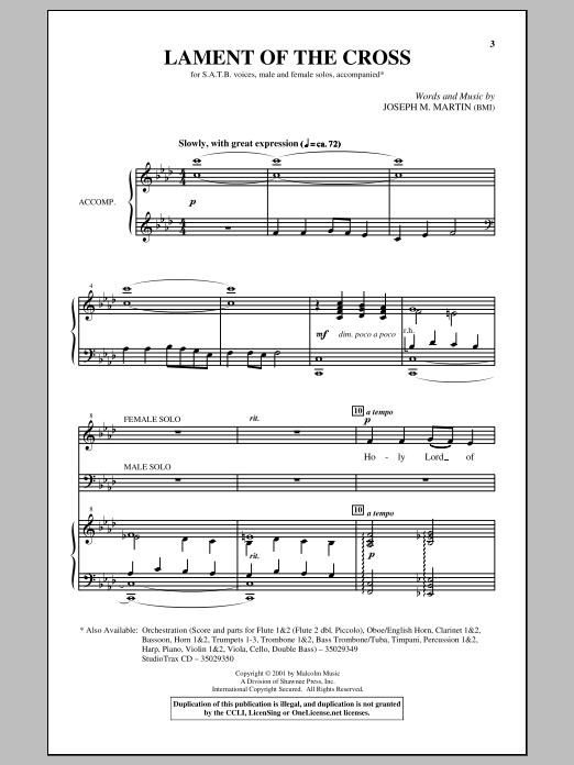 Joseph Martin Lament Of The Cross sheet music notes and chords. Download Printable PDF.