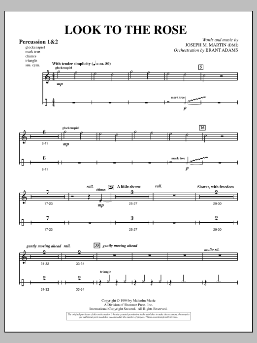 Joseph Martin Look to the Rose - Percussion 1 & 2 sheet music notes and chords. Download Printable PDF.