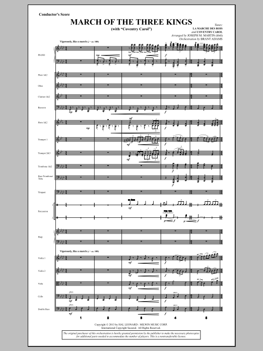 Joseph Martin March Of The Three Kings (from A Symphony Of Carols) - Score sheet music notes and chords. Download Printable PDF.