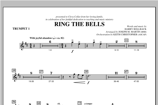 Joseph Martin Ring the Bells - Bb Trumpet 1 sheet music notes and chords. Download Printable PDF.
