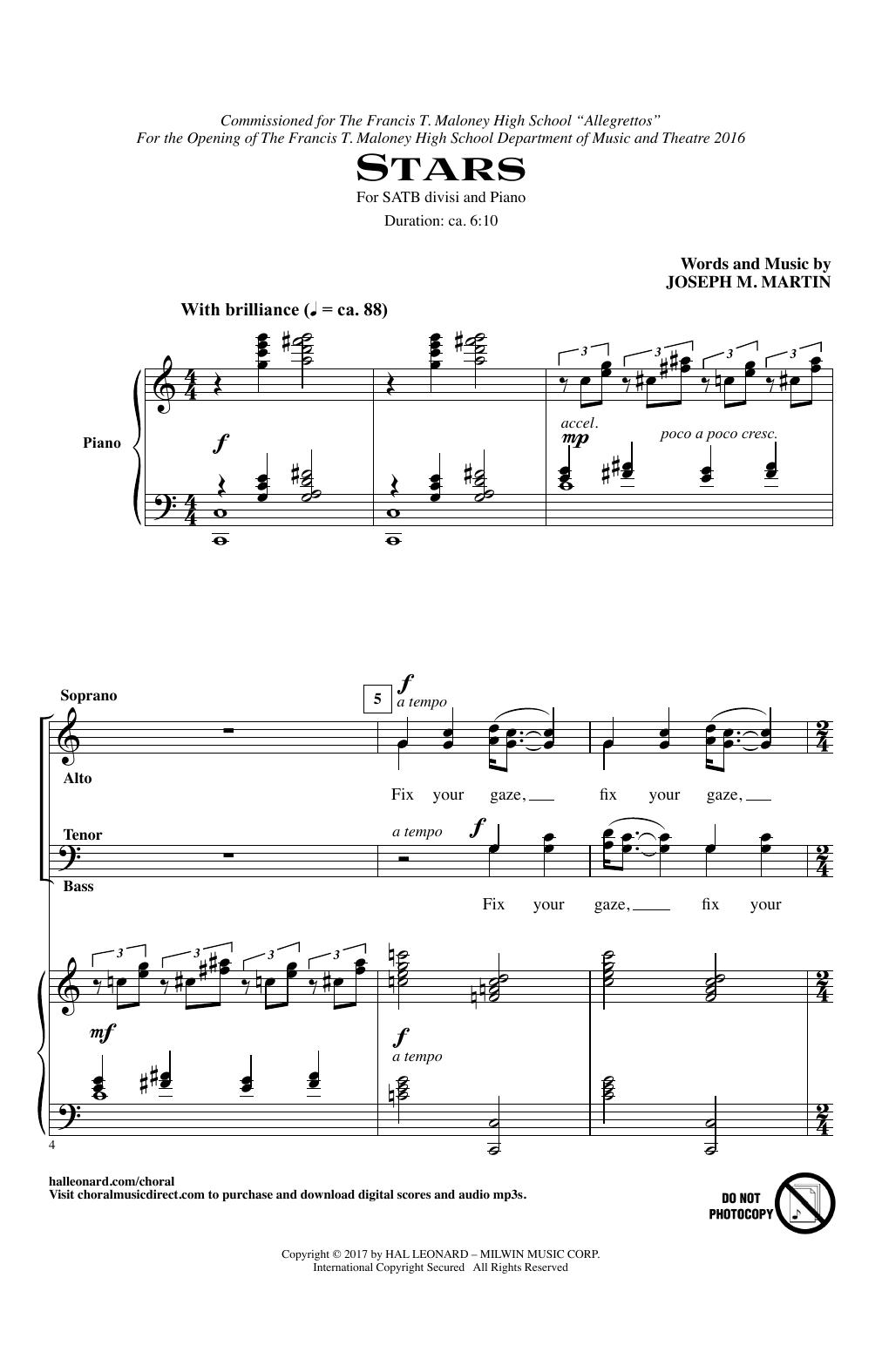 Joseph Martin Stars sheet music notes and chords. Download Printable PDF.