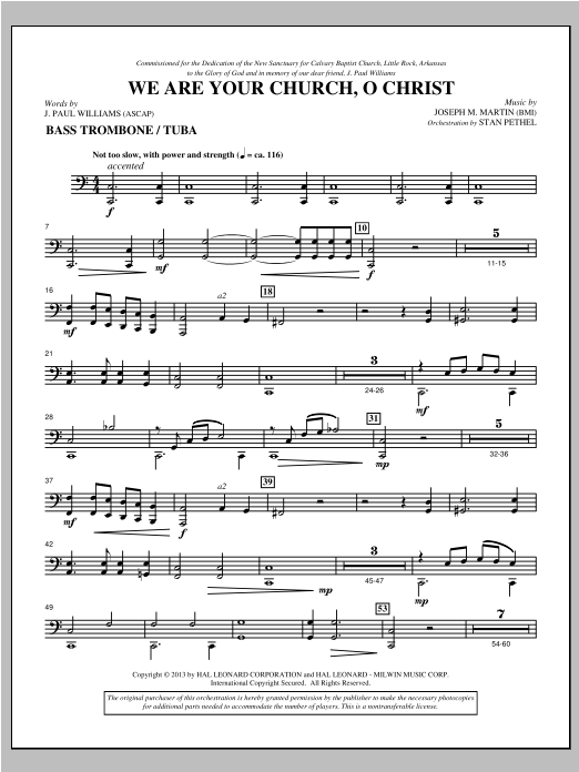 Joseph Martin We Are Your Church, O Christ - Bass Trombone/Tuba sheet music notes and chords. Download Printable PDF.