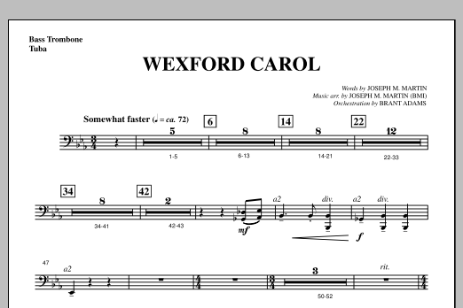 Joseph Martin Wexford Carol (from A Symphony Of Carols) - Bass Trombone/Tuba sheet music notes and chords. Download Printable PDF.