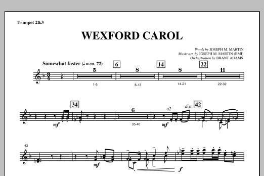Joseph Martin Wexford Carol (from A Symphony Of Carols) - Bb Trumpet 2,3 sheet music notes and chords. Download Printable PDF.