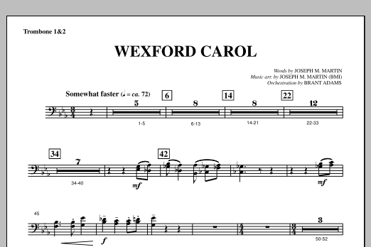 Joseph Martin Wexford Carol (from A Symphony Of Carols) - Trombone 1 & 2 sheet music notes and chords. Download Printable PDF.