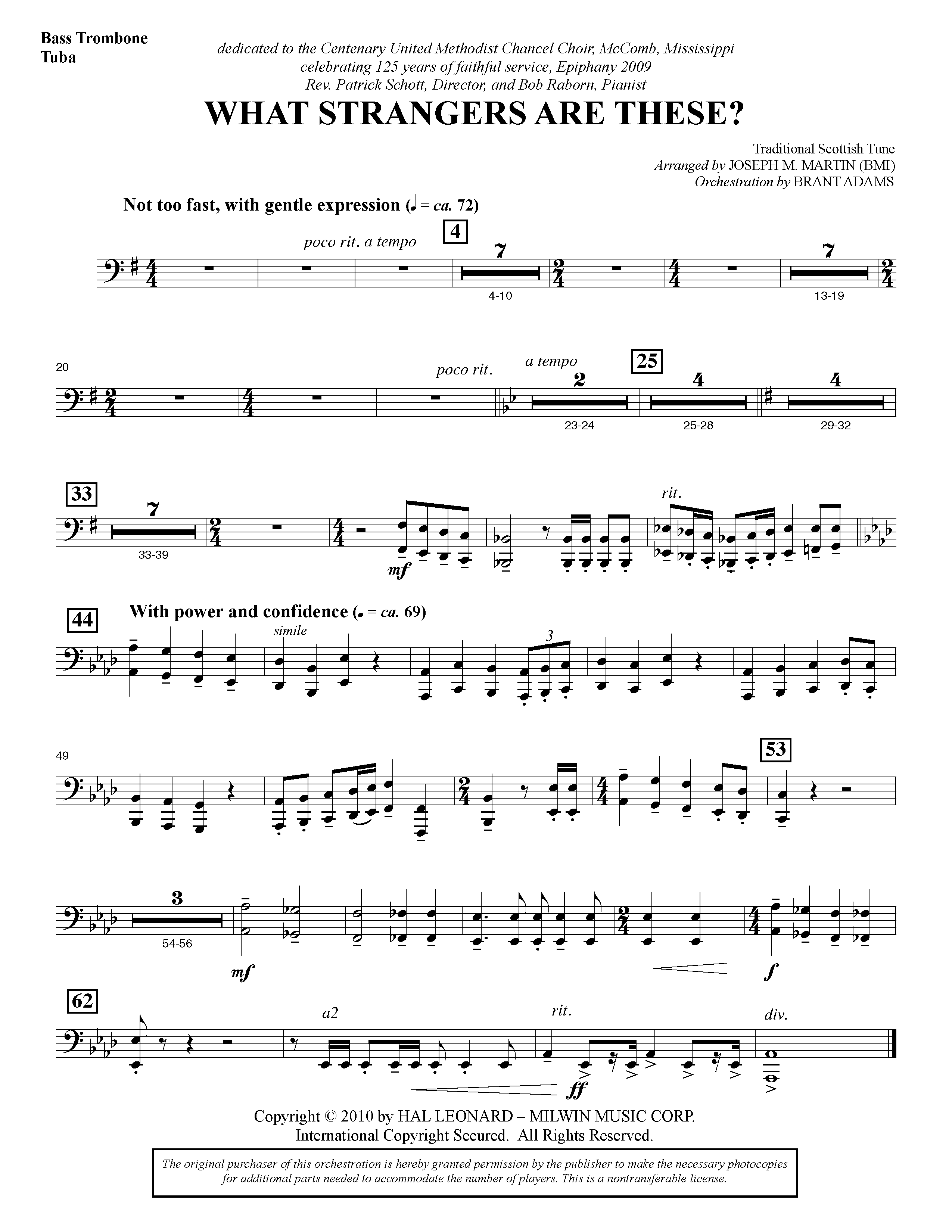 Joseph Martin What Strangers Are These? (from Winter's Grace) - Bass Trombone/Tuba sheet music notes and chords
