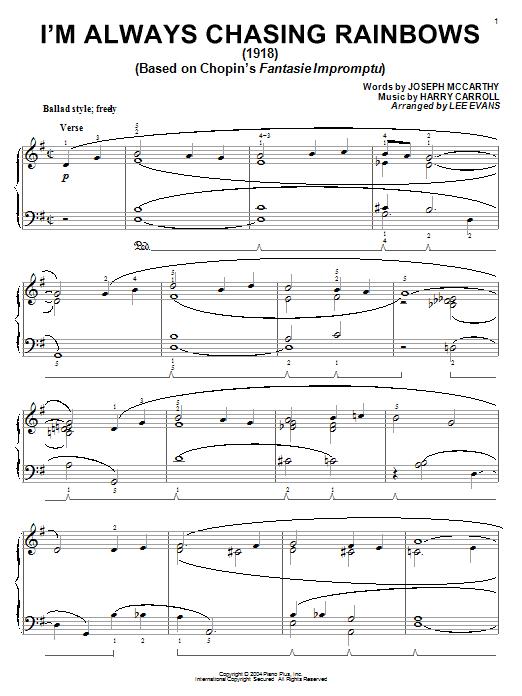 Joseph McCarthy I'm Always Chasing Rainbows sheet music notes and chords. Download Printable PDF.