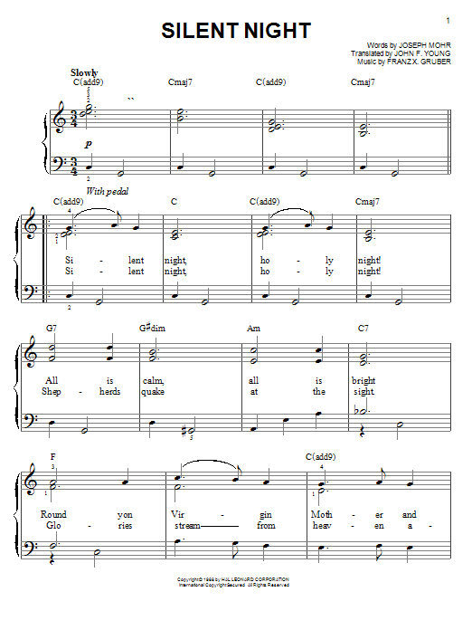 Joseph Mohr Silent Night sheet music notes and chords. Download Printable PDF.