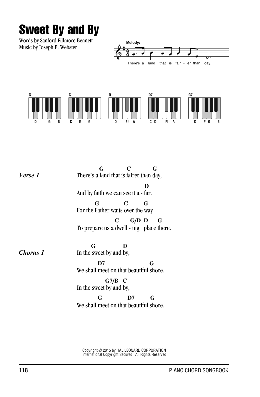 Joseph P. Webster Sweet By And By sheet music notes and chords. Download Printable PDF.