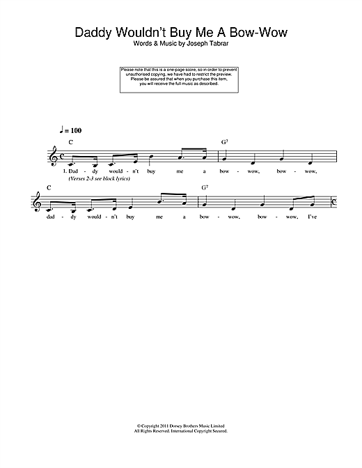 Joseph Tabrar Daddy Wouldn't Buy Me A Bow-Wow sheet music notes and chords. Download Printable PDF.