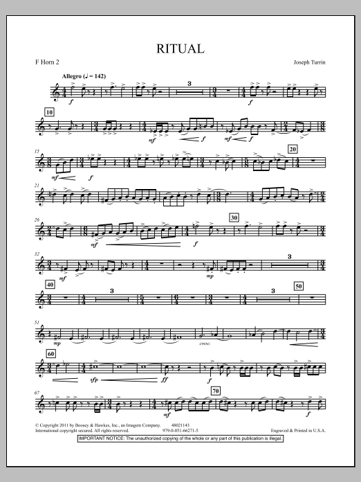 Joseph Turrin Ritual - F Horn 2 sheet music notes and chords. Download Printable PDF.