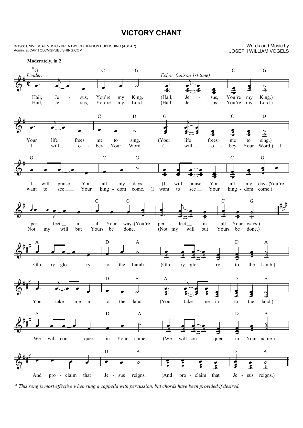 Joseph Williams Vogels Victory Chant sheet music notes and chords. Download Printable PDF.