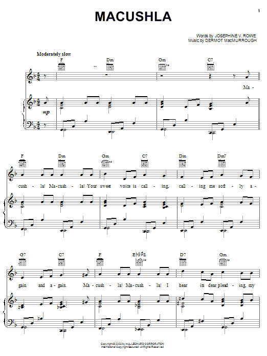 Josephine V. Rowe Macushla sheet music notes and chords. Download Printable PDF.