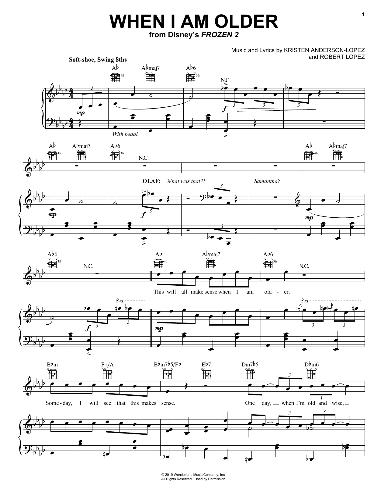 Josh Gad When I Am Older (from Disney's Frozen 2) sheet music notes and chords. Download Printable PDF.