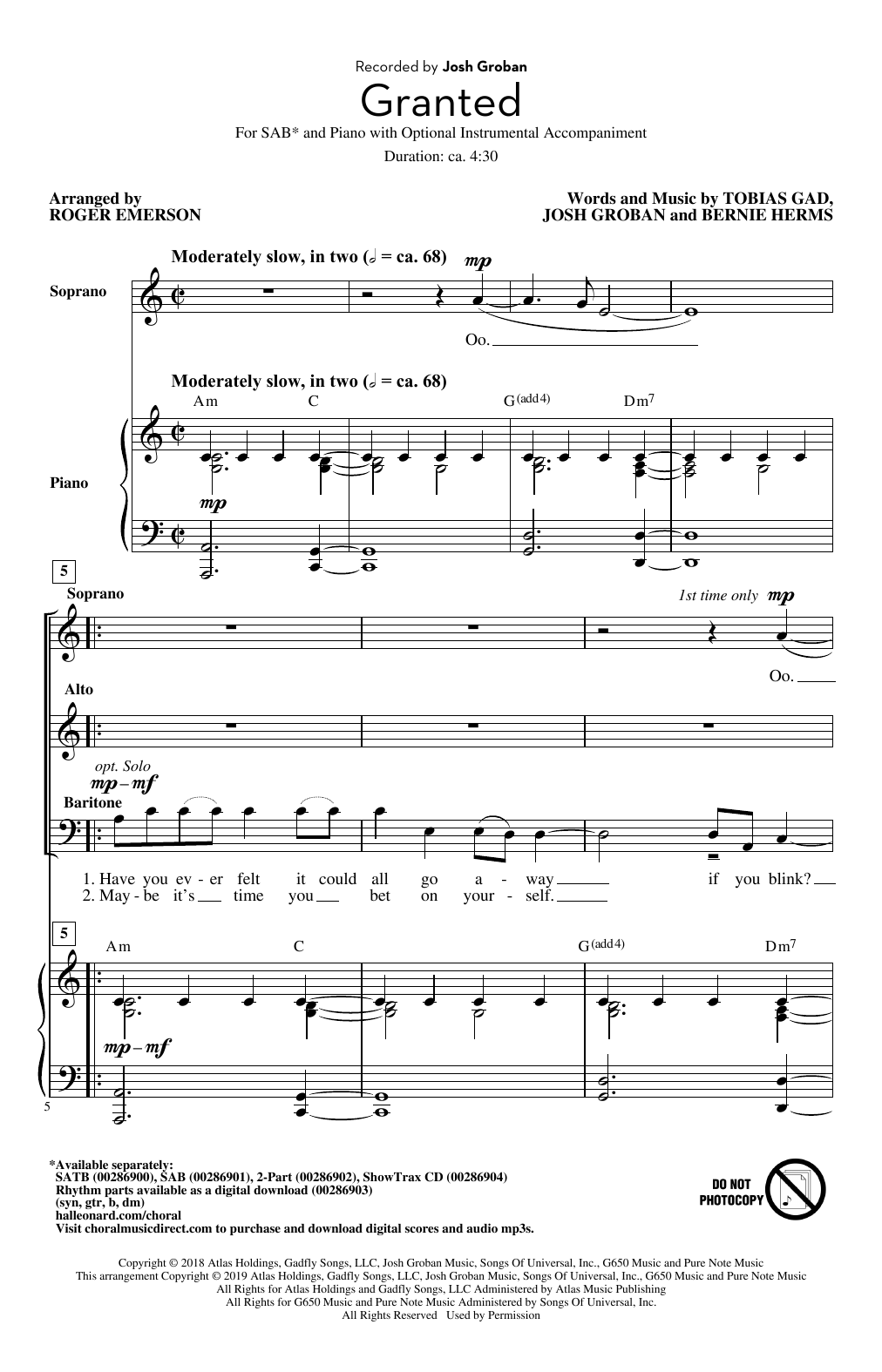Josh Groban Granted (arr. Roger Emerson) sheet music notes and chords