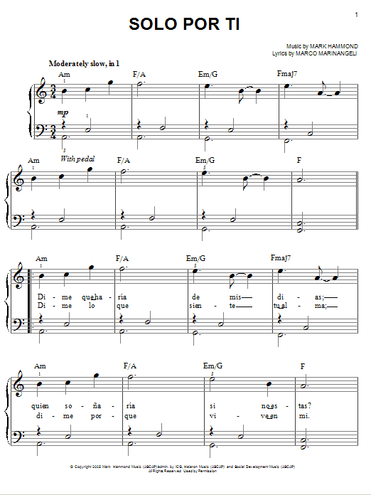 Josh Groban Solo Por Ti sheet music notes and chords. Download Printable PDF.