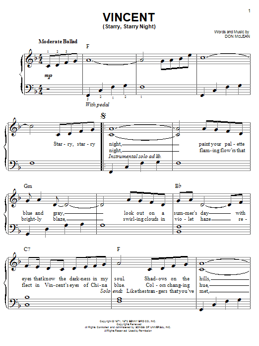 Josh Groban Vincent (Starry Starry Night) sheet music notes and chords