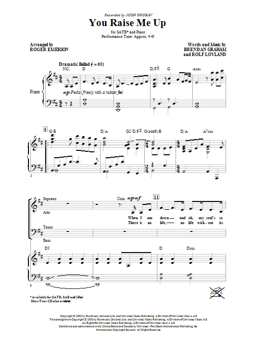 Josh Groban You Raise Me Up (arr. Roger Emerson) sheet music notes and chords. Download Printable PDF.