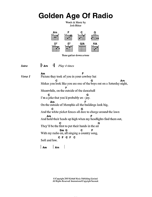 Josh Ritter Golden Age Of Radio sheet music notes and chords. Download Printable PDF.